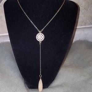 Champagne Druzy Y Lariat Style Necklace